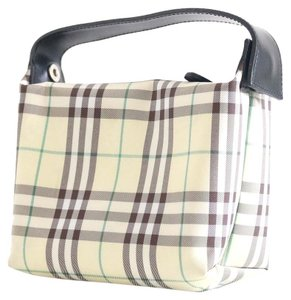 Burberry BURBERRY NOVA CHECK COSMETIC BAG LEATHER NYLON POUCH MINI PURSE
