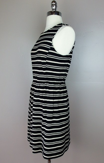 Madewell short dress Black Ivory Sleeveless Fitted Striped Textured Hidden Zipper Cotton Blend Pockets Stretchy on Tradesy