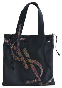 Saint Laurent Yves Ysl Sequin Canvas Tote in Black