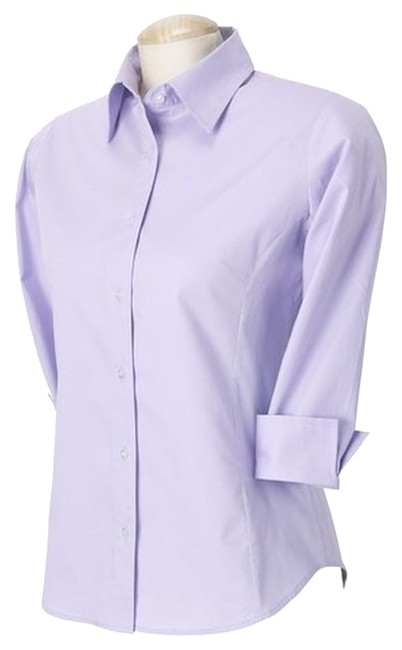 Other Cotton Dress Shirt Twill 3/4 Sleeve Three-quarter Sleeve Work Shirt Suiting Button Down Shirt Lavender
