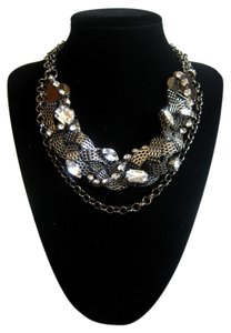 Sophia Eugene Thick Braided Gunmetal Chain with Clear Rhinestone Choker