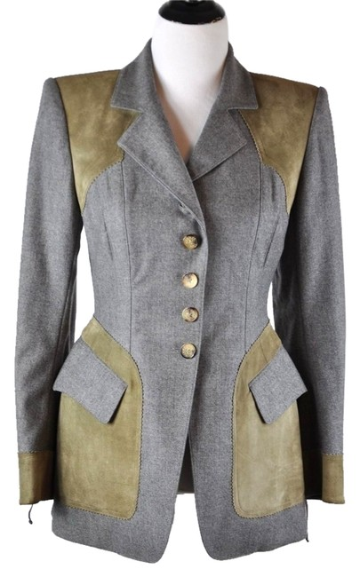 Preload https://item5.tradesy.com/images/hermes-gray-wool-and-beige-suede-equestrian-riding-jacket-3840-blazer-size-8-m-7815994-0-2.jpg?width=400&height=650