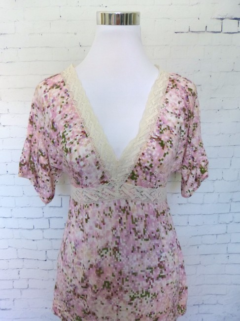 Ric Rac Lace Checkered Top Pink