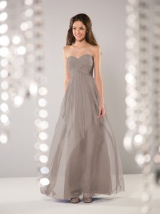 B2 Taupe Madelyn Silky Chiffon Jasmine Modern Bridesmaid/Mob Dress Size 4 (S)