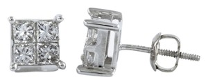 STEAL - 950 Platinum 1 carat total weight invisibly-set-princess cut diamond stud earrings