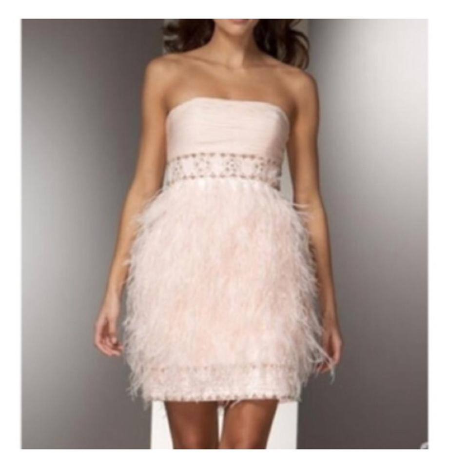 202168435891 Sue Wong Pink Ostrich Feather Above Knee Cocktail Dress Size 2 (XS ...