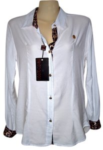 Roberto Cavalli Button Down Shirt White/Leopard Trim
