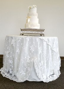Ivory Embroidery Draped Table Cloth