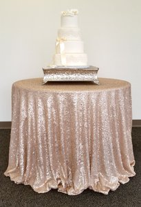 Champagne/beige Matt Glitz Sequin Table Cloth: 108 Inch Round