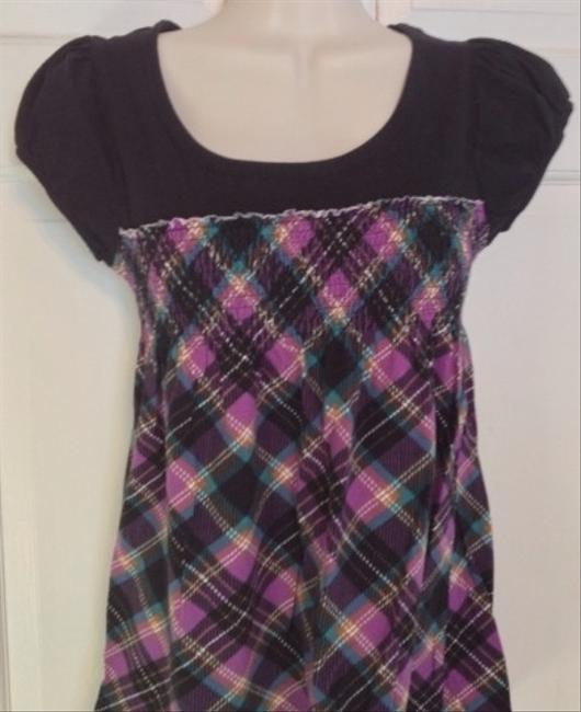 Next Era T Shirt Black Purple Aqua Plaid