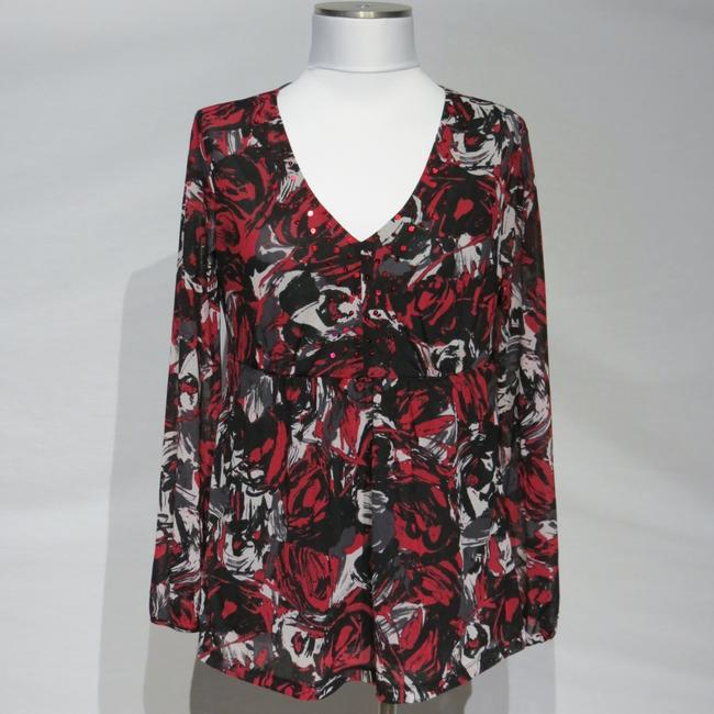 Emma James Top Black/White/Red