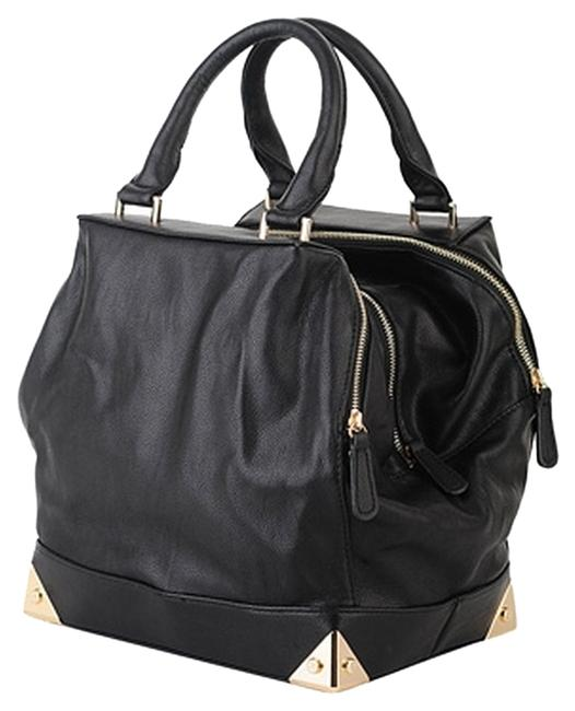 Item - Structured Tote Black Faux Leather Satchel