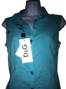 D&G Dolce & Gabbana Xs Button Down Shirt Aqua