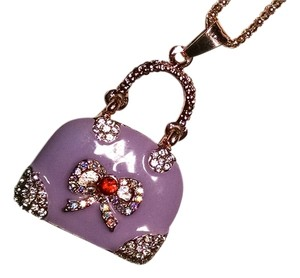 Betsey Johnson Betsey Johnson Purple Purse Handabag Necklace Pendant J1408