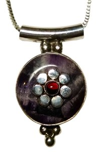 Other New Amethyst Garnet 925 Silver Pendant Necklace 15 Inch Jewelry J1410