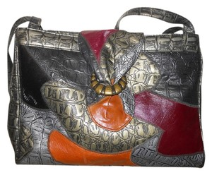 Vintage Patchwork Tote in pewter multi color