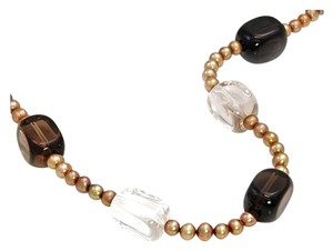 Freshwater Golden Pearls, Smoky Quartz & Clear Quartz 925 Sterling