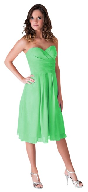 Preload https://item3.tradesy.com/images/green-strapless-pleated-waist-slimming-chiffon-knee-length-cocktail-dress-size-2-xs-782392-0-0.jpg?width=400&height=650