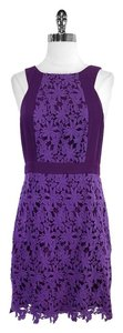 Ali Ro short dress Purple Floral Eyelet Cotton on Tradesy