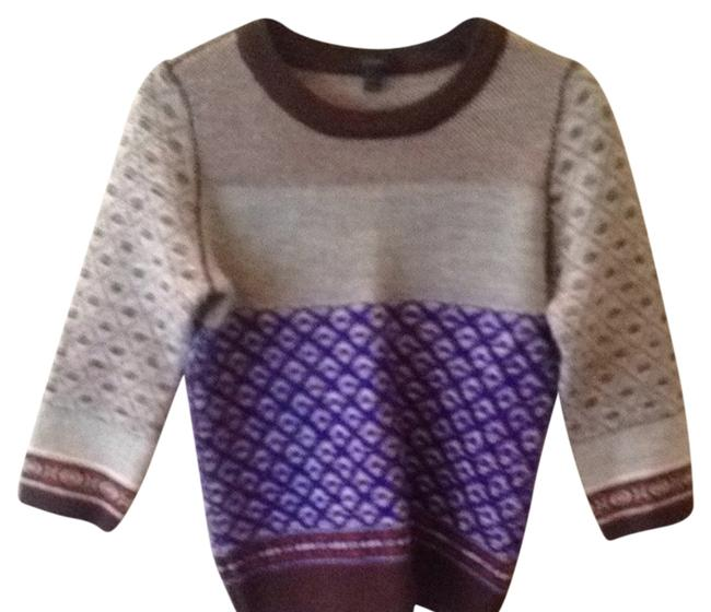 Preload https://item2.tradesy.com/images/jcrew-multi-color-blue-brown-gray-printed-sweaterpullover-size-4-s-782401-0-1.jpg?width=400&height=650