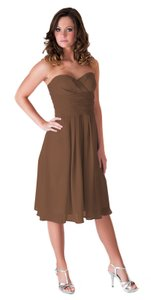 Brown Strapless Pleated Waist Slimming Chiffon Dress