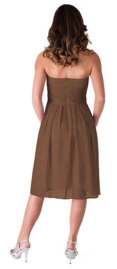 Brown Chiffon Strapless Pleated Waist Slimming Feminine Bridesmaid/Mob Dress Size 10 (M)