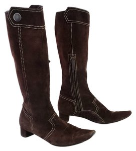 Tod's Suede Mid Calf Brown Boots