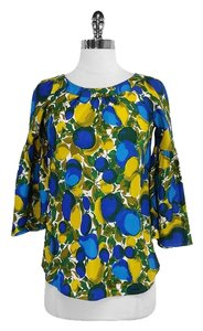 Rebecca Taylor Blue Yellow Print Silk Top