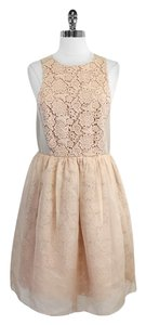 Tibi short dress Tan Floral Crochet Cotton Silk Sleeveless on Tradesy