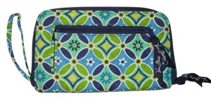 Vera Bradley Wallet Wristlet in blue & green print