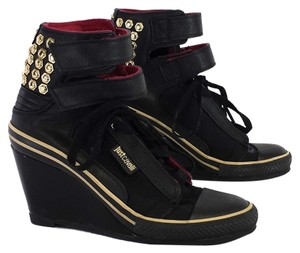 Just Cavalli Black Studded Leather Sneakers Wedges