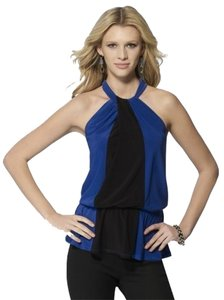 Cache Color-blocking Night Out Twist Neck Elasic Waist Blue/Black Halter Top