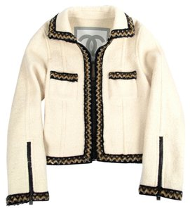 Chanel Wool Blazer Boucle Ivory Jacket
