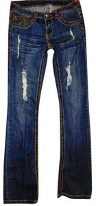 Miss Chic Jeans Size 3 Boot Cut Jeans-Distressed