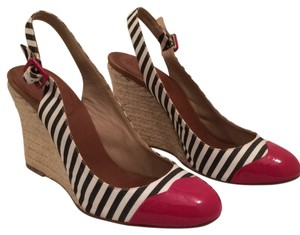 Christian Louboutin Red White Blue Wedges