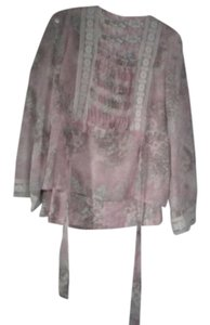 short dress Pink floral Organdy Lace Trim Smocked on Tradesy