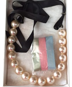 Other Large Faux Pearl Necklace With Interchangeable Ribbon Color