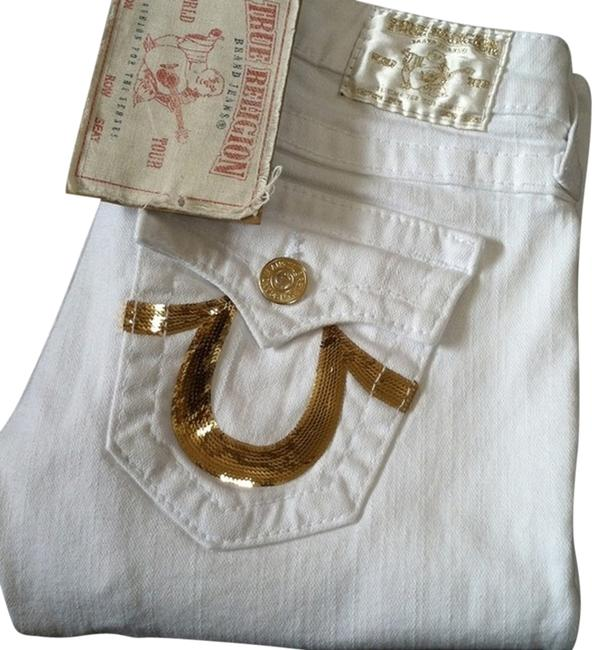 Item - White Light Wash Gold Sequin Boot Cut Jeans Size 24 (0, XS)