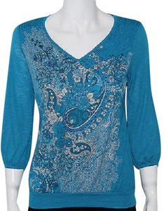 Style & Co 3/4 Sleeve Printed Top Blue