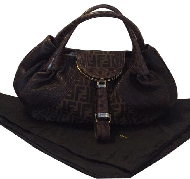 Item - Spy Brown Chocolate Nappa Leather with Tobacco Zucca Print Canvas Satchel