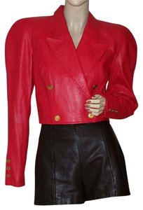 North Beach Leather Cropped Nbl Red Leather Jacket
