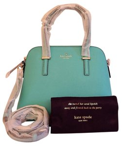 Kate Spade Zipper Top Double Handles Long Strap Feet On Bottom Dust Priority Mail Shipping Satchel in Blue