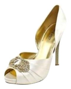 Nine West Satin Wedding Bride Bridal Dress Party Bling Crystal Shimmer Shine Stilletto Rouching Six Embellish Gold Silver Metal White SA Pumps