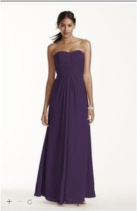 David's Bridal Lapis Chiffon Long Strapless and Pleated Bodice F15555 Formal Bridesmaid/Mob Dress Size 4 (S)