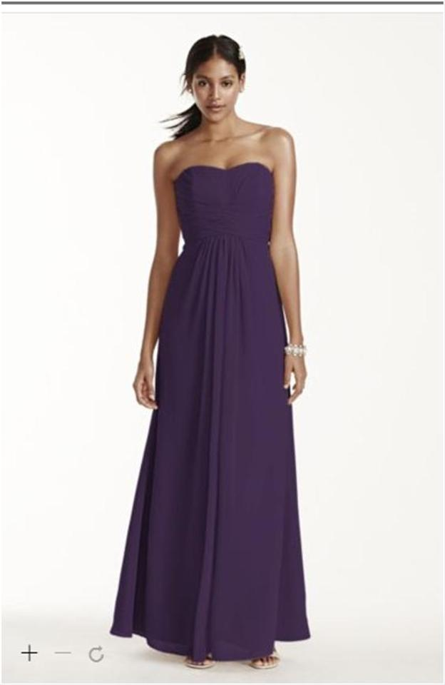 David S Bridal Lapis Chiffon Long Strapless And Pleated Bodice F15555 Formal Bridesmaid Mob Dress Size