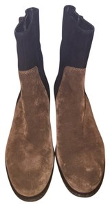 Via Spiga Boot Bootie Suede Patent Black and Brown Boots