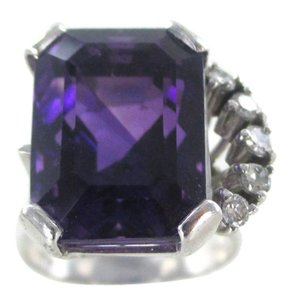 Other 14K SOLID WHITE GOLD RING AMETHYST 5 DIAMONDS .20 CARAT WEDDING BAND NO SCRAP