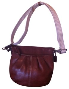 Coach Pleated Leather Espresso Adjustable Cross Body Bag