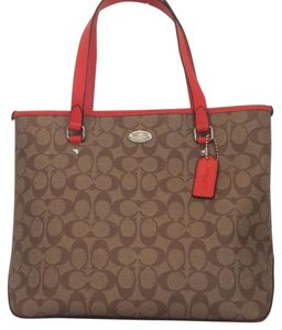 Coach Signature Logo Zip Top Tote in Khaki / Orange