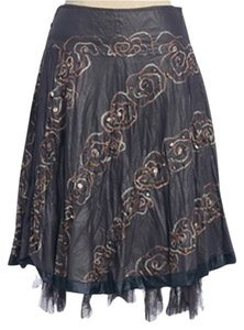 Anthropologie Floral Deco Sea Hazel Skirt GRAY